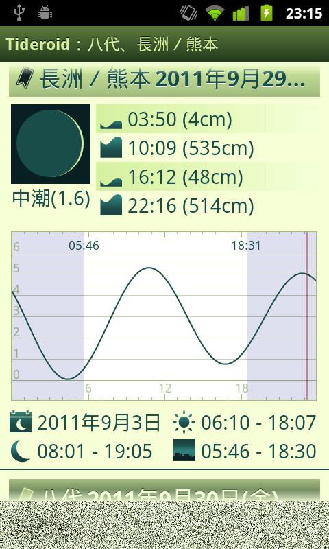 日本の潮汐情報 Android アプリ Tideroid スクリーンショット6