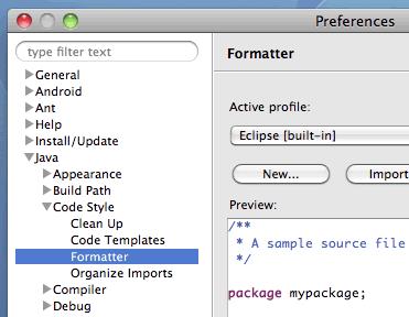 Eclipse Java コードのインデント文字設定画面1
