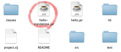 Standalone jar in Leiningen project files