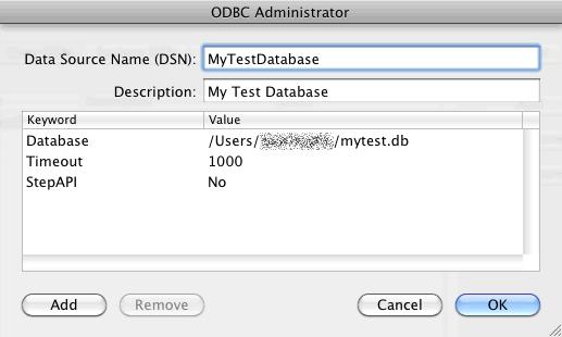 Mac ODBC 設定画面3