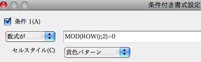 OpenOffice.org 条件付き書式設定 ScreenShot