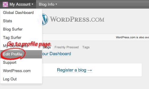 WordPress.com My Account Menu ScreenShot